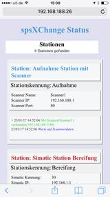spsXChange Simatic und Scanner Stationsüberwachung auf Handy
